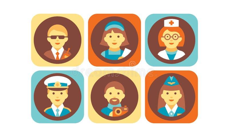 Profession icons set, bodyguard, nurse, doctor, pilot, stewardess, photographer working people vector Illustration on a. Profession icons set, bodyguard, nurse vector illustration