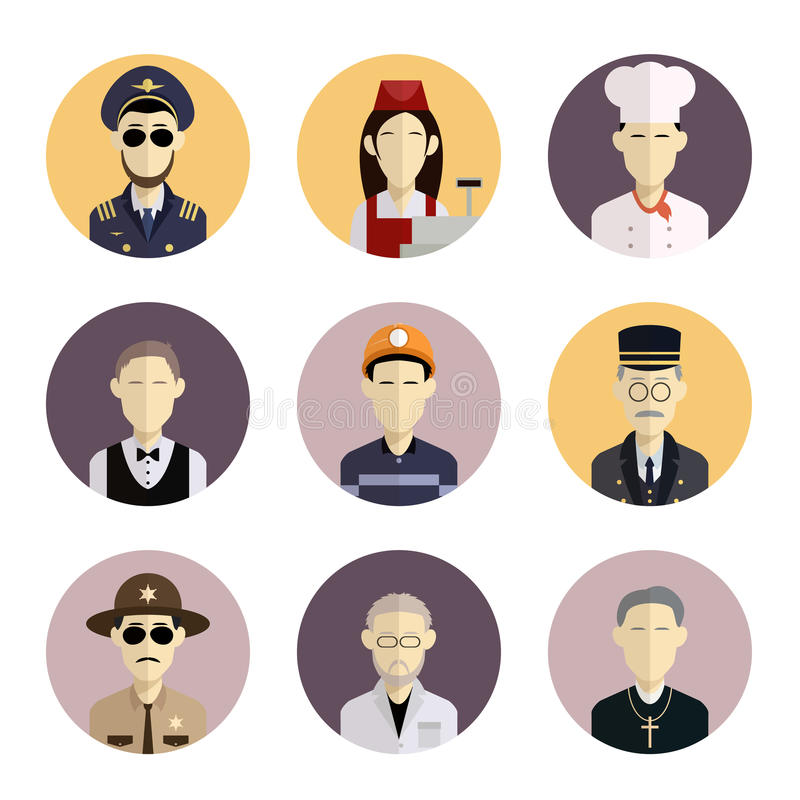 Profession icons. Vector image of collection of flat icons with professions stock illustration