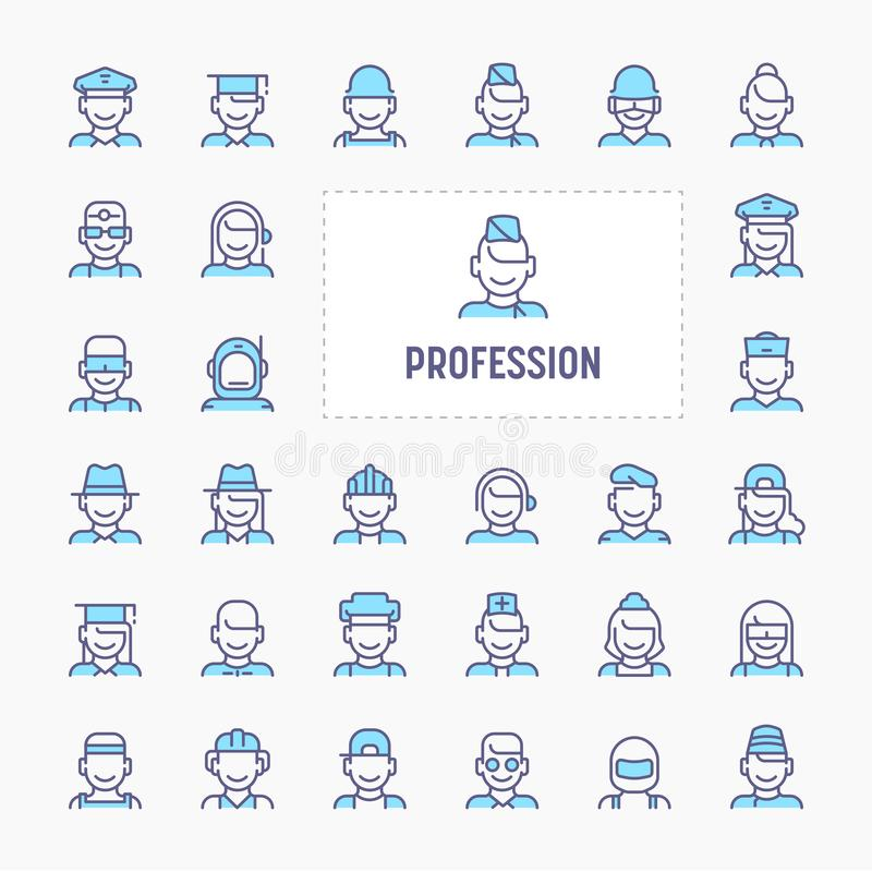 Profession & Occupation Icon Set. Profession, occupation & employment - thin line website, application & presentation icon. simple and minimal vector icon and vector illustration