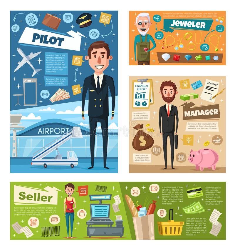 Profession occupation banner of worker in uniform royalty free illustration