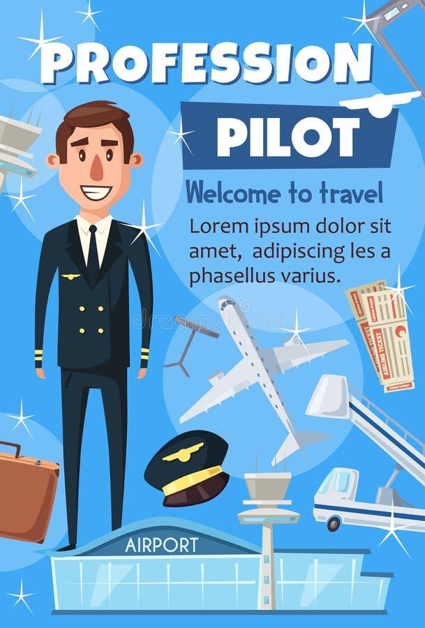 Profession pilote d'aviation, personnel d'aéroport illustration stock