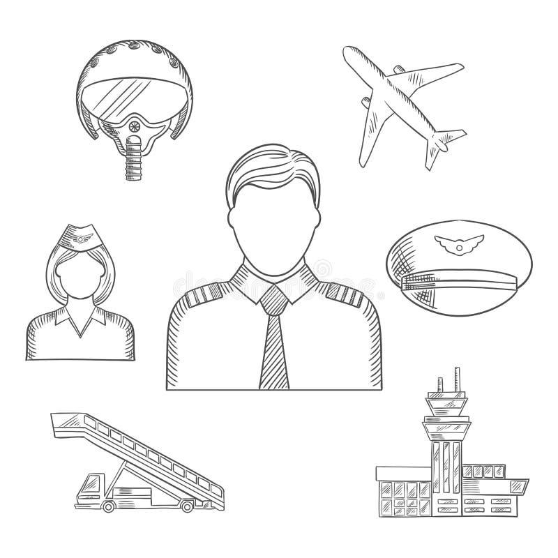 Profession pilote et icônes esquissées par avions réglées illustration de vecteur