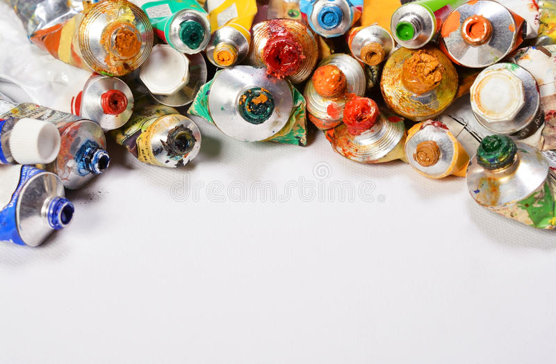 Professional acrylics paints in tubes on a white background. stock photo