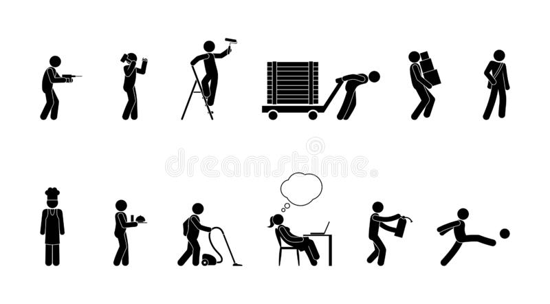 Professional activity icon, pictogram of people of various professions at work, stick figure man. Silhouettes set vector illustration