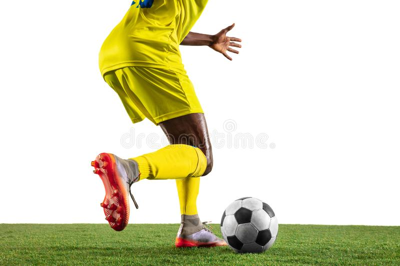 Professional african football or soccer player isolated on white background royalty free stock images