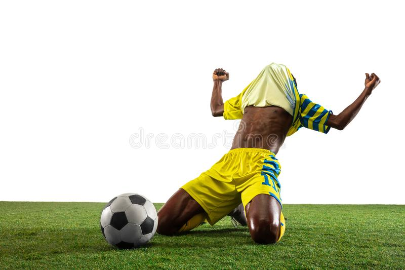 Professional african football or soccer player isolated on white background royalty free stock photos