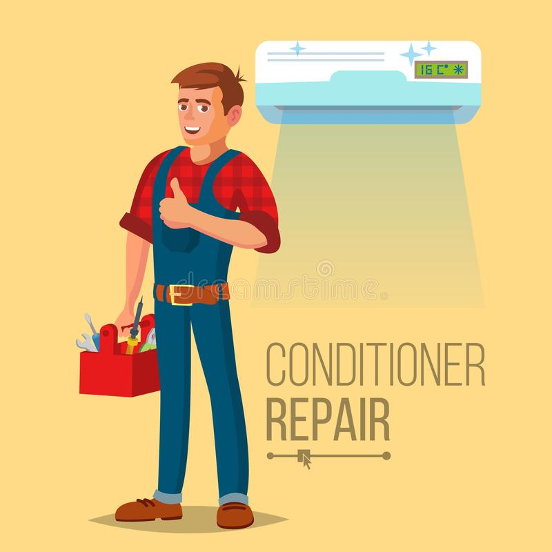 Professional Air Conditioner Repair Vector. Man Electrician Installing Air Conditioner. Flat Cartoon Illustration. Air Conditioner Repair Worker Vector. Young stock illustration