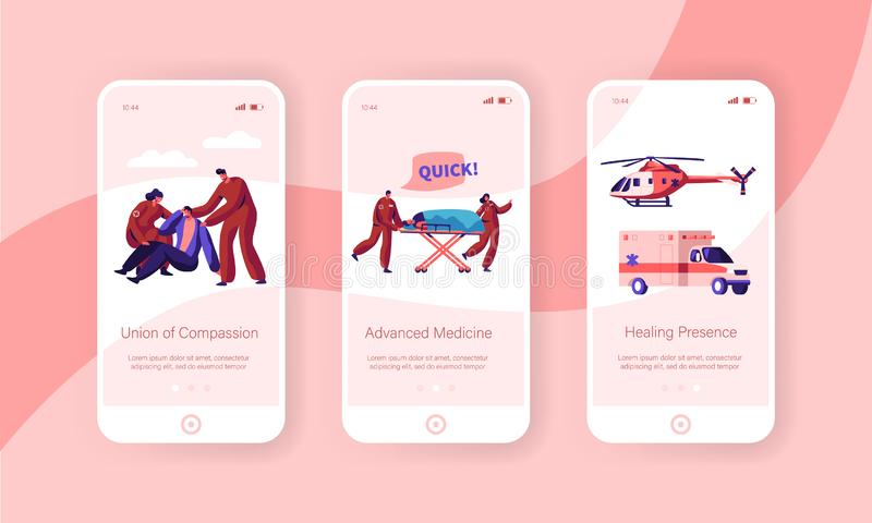Professional Ambulance Team Care Health Mobile App Page Onboard Screen Set. Fast Transport Character from Accident. And Transportation to Clinic Website or Web royalty free illustration