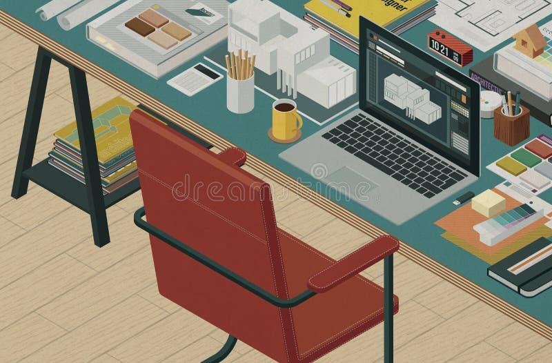 Professional architect and interior designer isometric desktop stock image