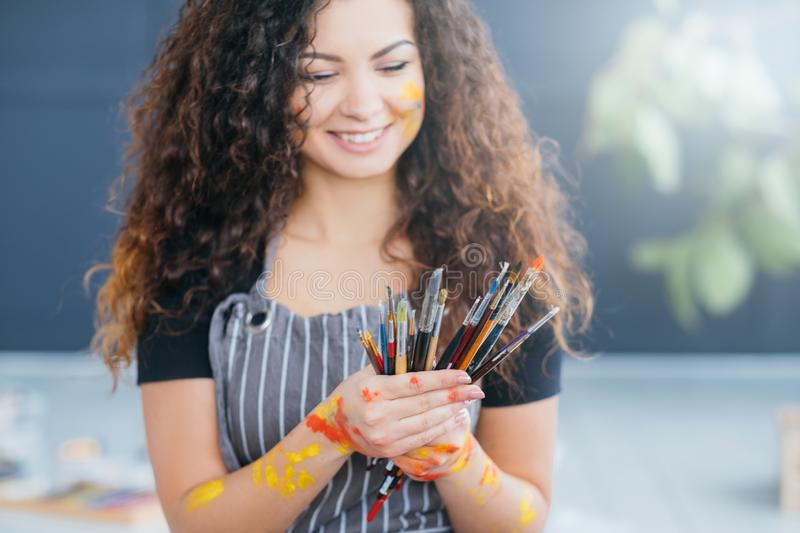 Professional artist essential tools paintbrushes royalty free stock photo