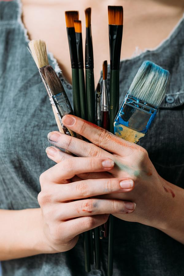 Professional artist tools various paintbrushes stock photography
