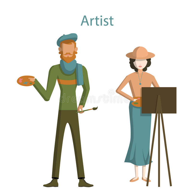 Professional artists. Professional artists on white background. Male and Female artists with paint brush, easel and palette. Creative profession stock illustration
