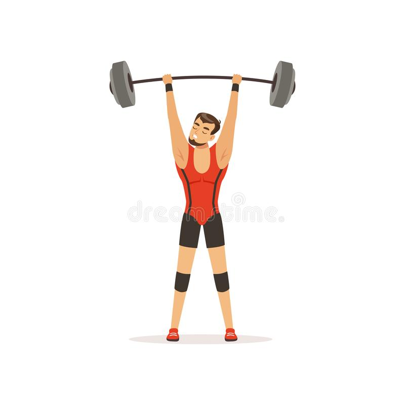 Professional athlete holding barbell above his head. Strong man character in red lifter suit. Weightlifting, cross fit vector illustration