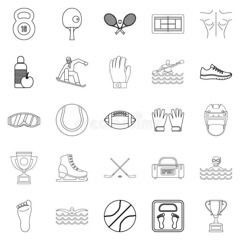 Professional athlete icons set, outline style royalty free illustration