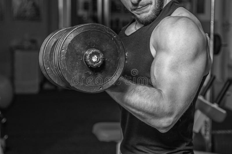 Professional athlete performs exercises in the gym. Work on your body. Performing difficult exercises. Photos for magazines, posters and websites royalty free stock photography