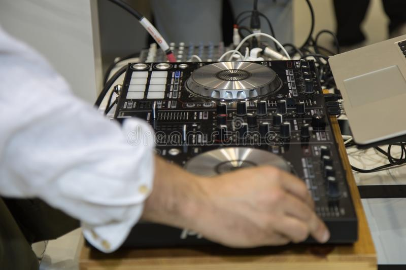 Professional Audio Sound Mixer Music Control, Electronic Device in Outdoor Concert stock images