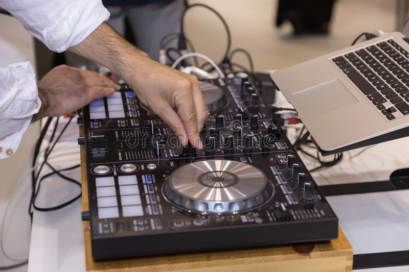 Professional Audio Sound Mixer Music Control, Electronic Device in Outdoor Concert royalty free stock photography