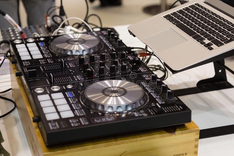 Professional Audio Sound Mixer Music Control, Electronic Device in Outdoor Concert stock photography
