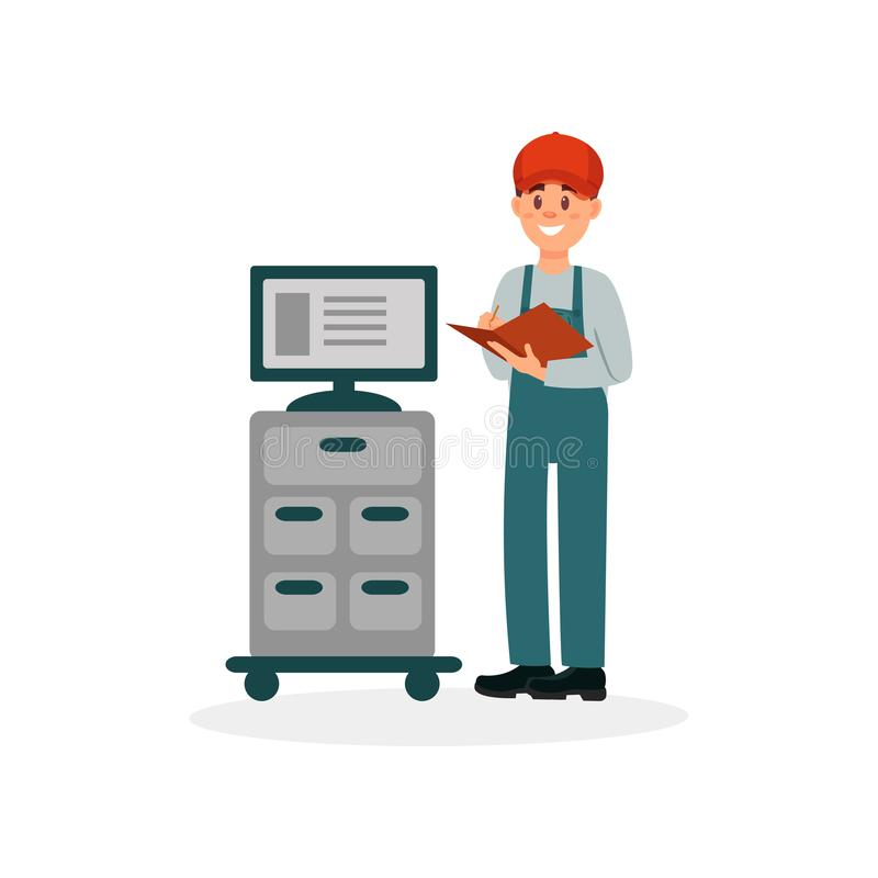 Free Professional Auto Mechanic Standing Next To Computer, Car Diagnostic, Analyzing And Monitoring Vector Illustration On A Stock Photo - 112479060