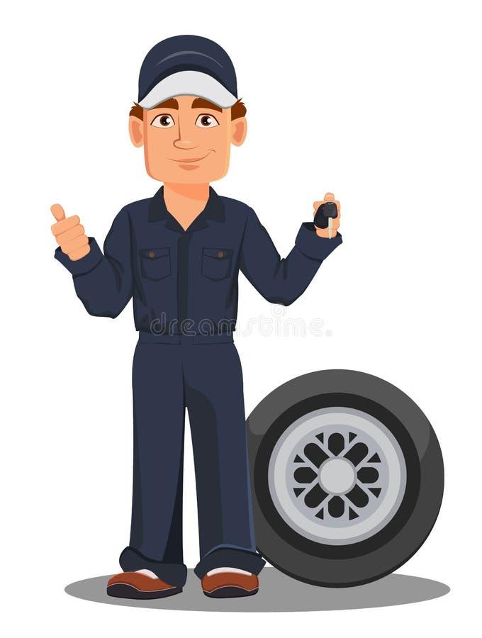 Professional auto mechanic in uniform stock illustration