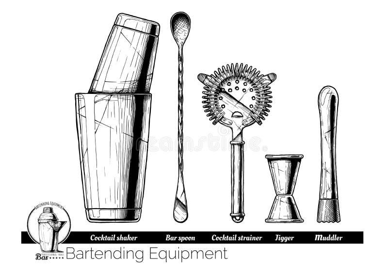 Illustration of bartending equipment royalty free illustration