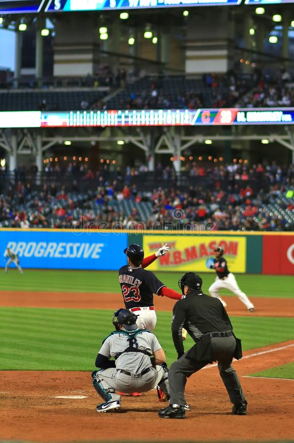 Professional Baseball player Michael Brantley of the Cleveland Indians. Cleveland Indians and the Seattle Mariners Major League Baseball game at Progressive stock photos