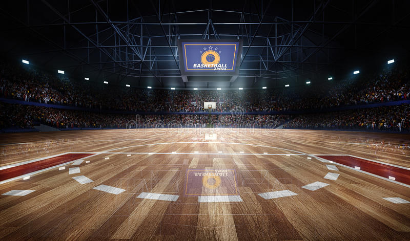 Professional basketball court arena in lights with fans 3d rendering. Professional basketball court arena with tribune and light