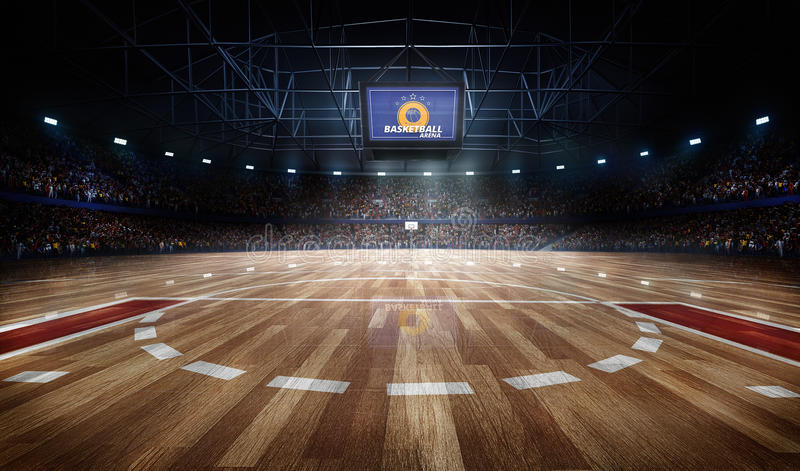 Professional basketball court arena in lights with fans 3d rendering. Professional basketball court arena with tribune and light stock illustration