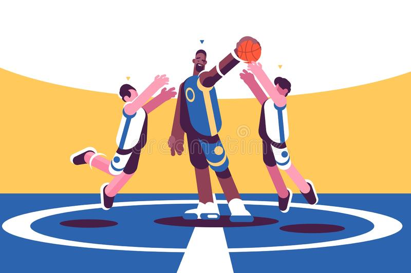 Professional basketball players on court. Vector illustration. Sportsman in fighting for ball flat style concept. Men teams in different uniform taking part in royalty free illustration