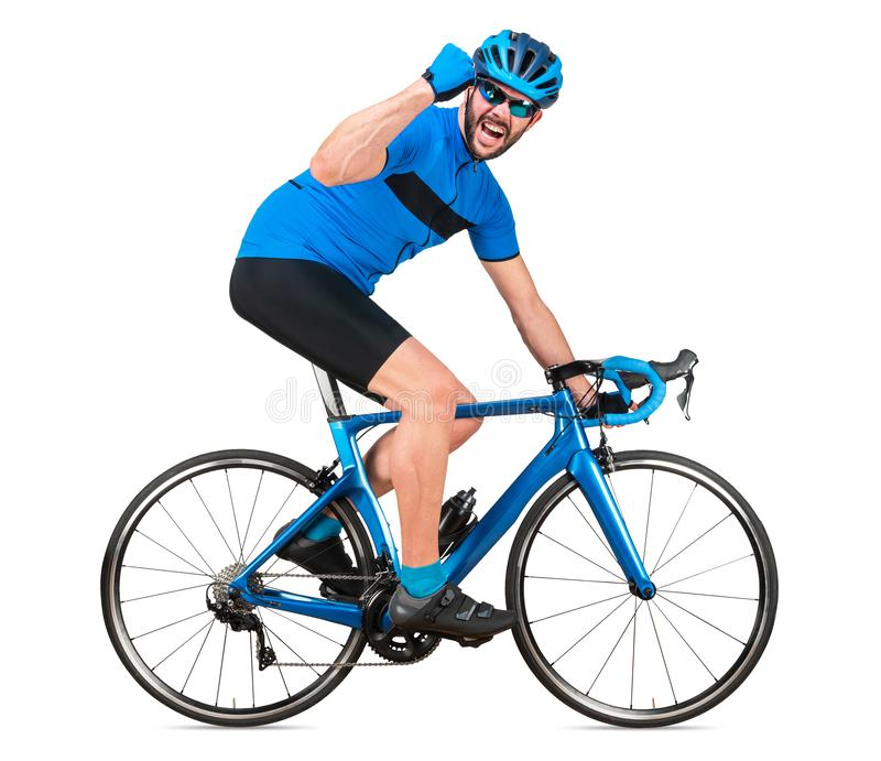 Professional bicycle road racing cyclist racer in blue sports jersey on light carbon race cycle celebration celebrating win. sport. Exercise training cycling stock photo
