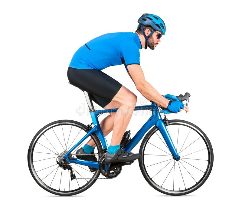 Professional bicycle road racing cyclist racer  in blue sports jersey on light carbon race cycle. sport exercise training cycling. Concept isolated on white stock photo