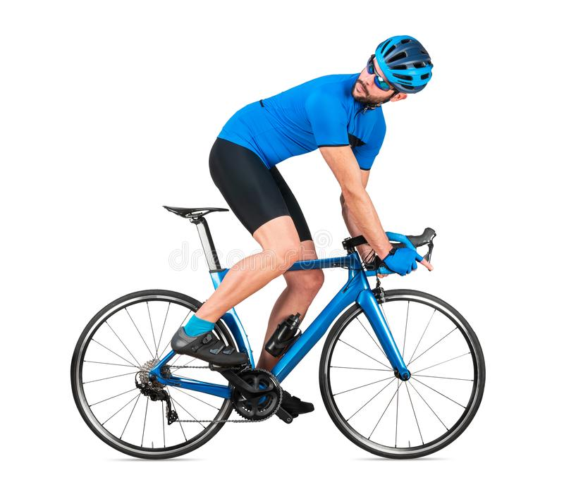 Professional bicycle road racing cyclist racer  in blue sports jersey on light carbon race looking back behind.  sport training. Cycling concept isolated on stock photos