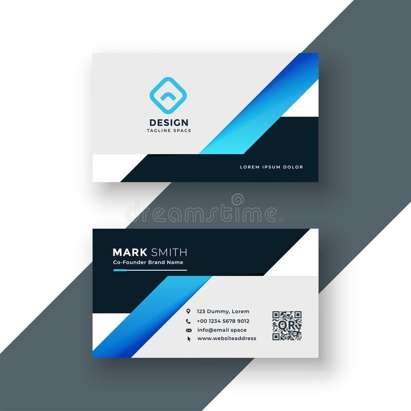 Professional blue business card geometric template royalty free illustration