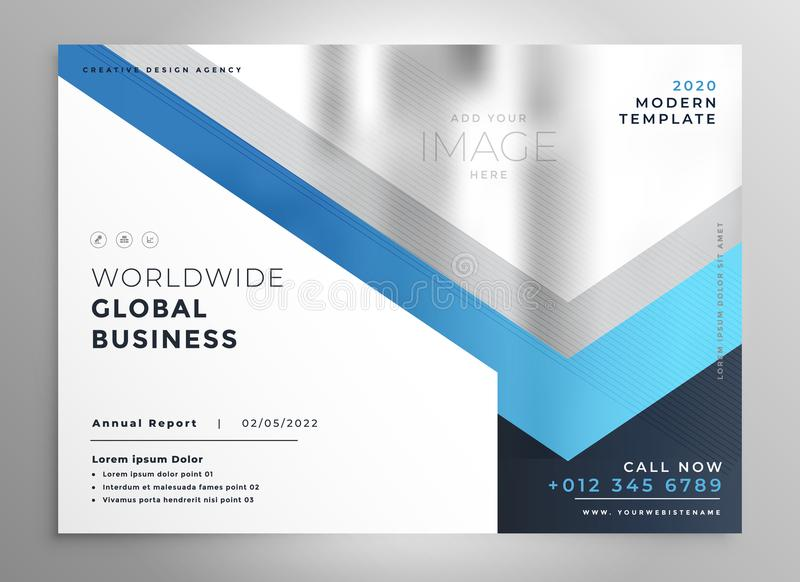Professional blue business flyer cover template royalty free illustration