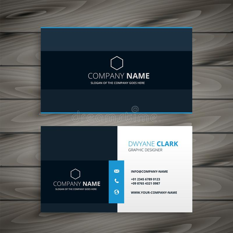 Professional blue dark business card design vector illustration