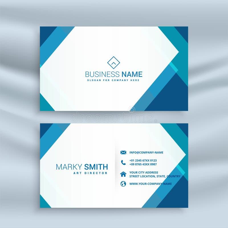 Professional blue geometric business card design stock illustration