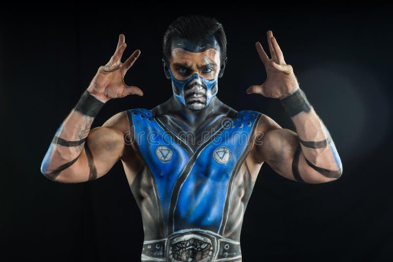 Professional bodyart Sub-Zero from Mortal Kombat. Professional make-up Sub-Zero from mortal kombat royalty free stock image