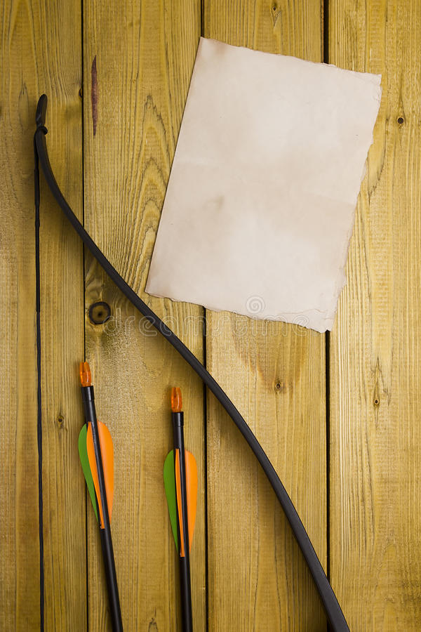 Professional bow with a set of arrows stock photo
