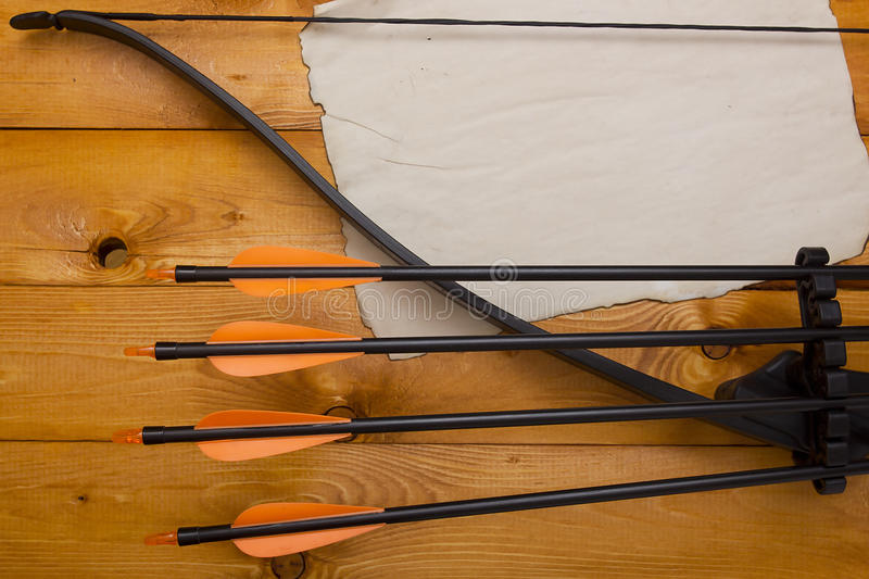 Professional bow with a set of arrows royalty free stock images