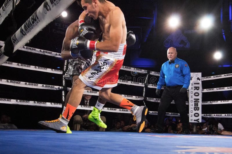 Professional Boxing in Phoenix, Arizona. Sep. 3, 2016. A huge crowd was captivated by talented young boxers, many from the Phoenix area, as they fought intense stock photo