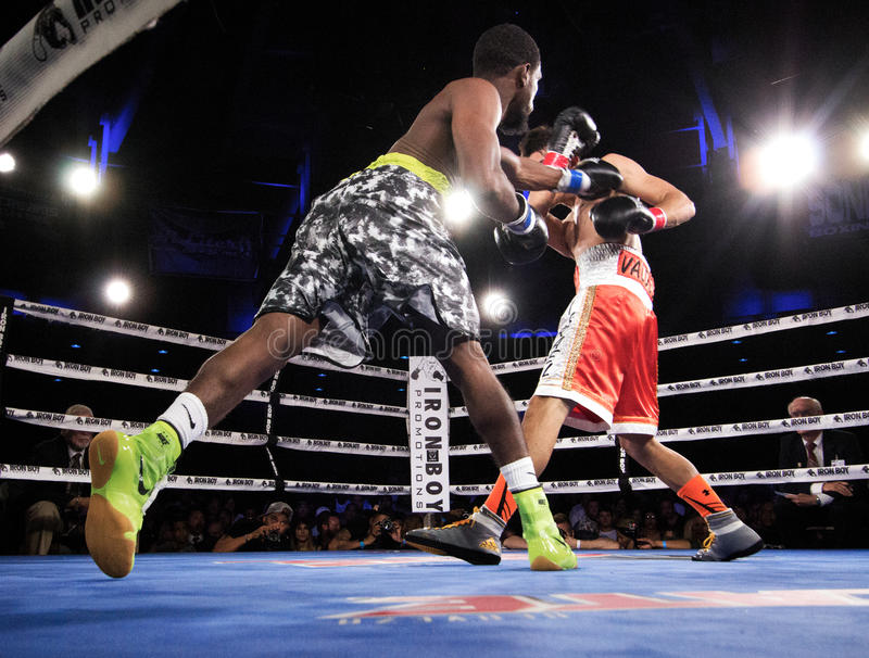 Professional Boxing in Phoenix, Arizona. Sep. 3, 2016. A huge crowd was captivated by talented young boxers, many from the Phoenix area, as they fought intense royalty free stock photos