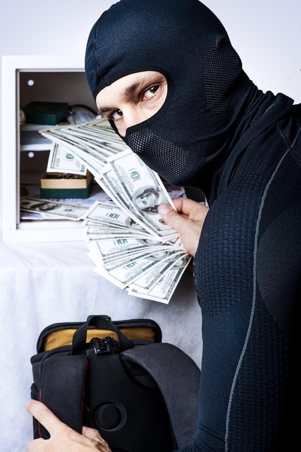 Professional burglar opened a small safe royalty free stock photos