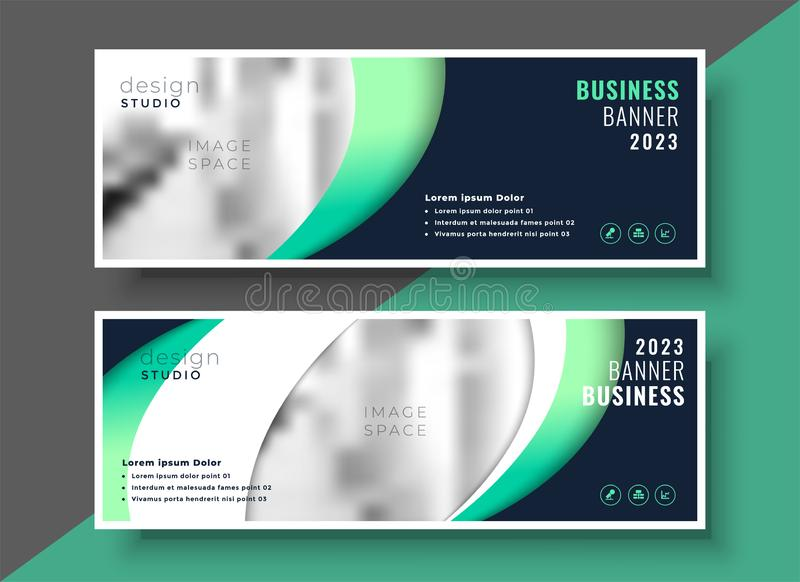 Professional business banner template layout design stock illustration