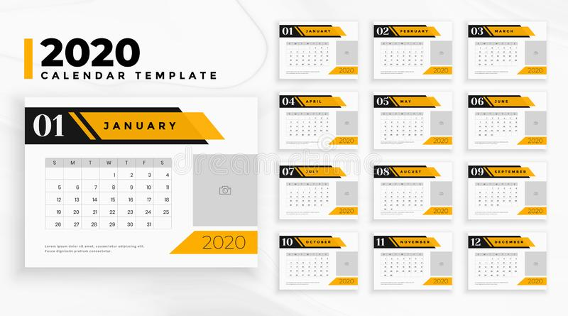 Professional business 2020 calendar in geometric style royalty free stock images