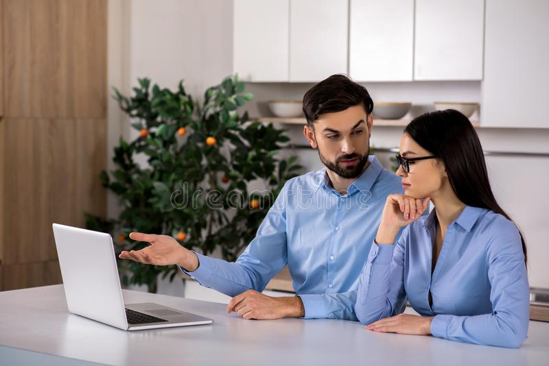 Professional business colleagues working on the project stock photos