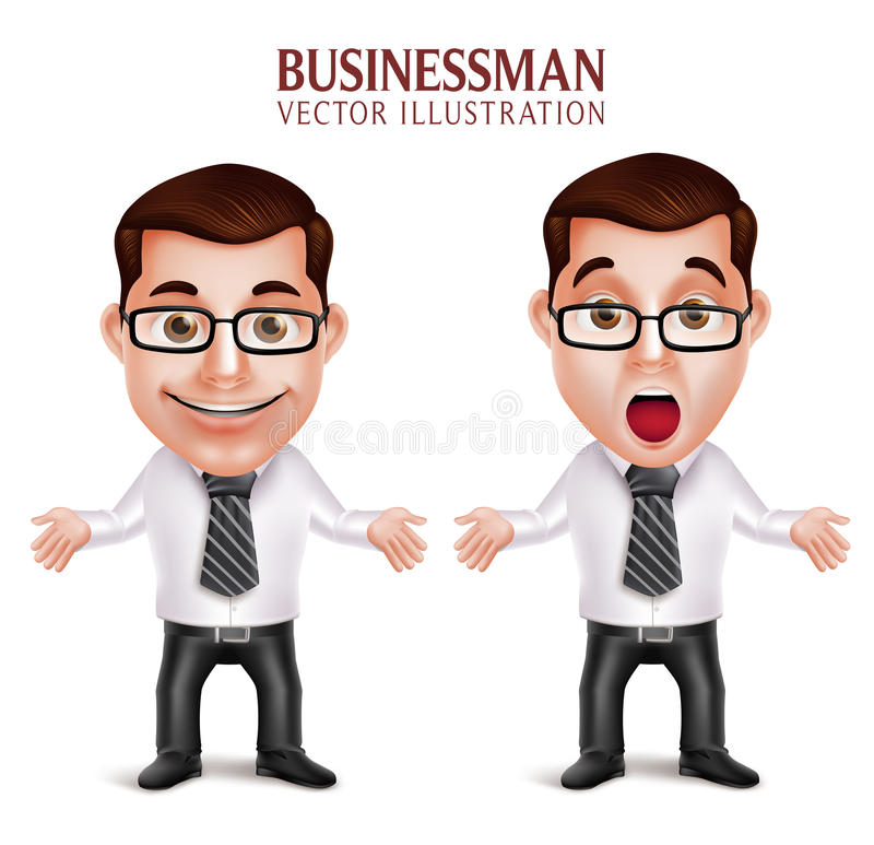 Free Professional Business Man Character Shocked And Surprised Posture Stock Images - 63794354