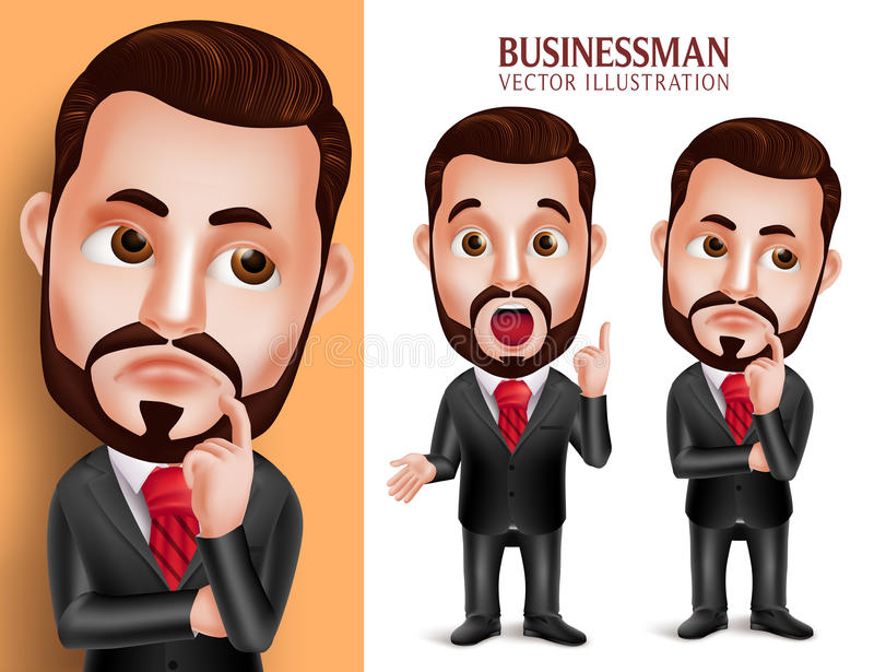 Professional Business Man Vector Character in Attractive Corporate Attire Thinking Idea. 3D Realistic Professional Business Man Vector Character in Attractive stock illustration