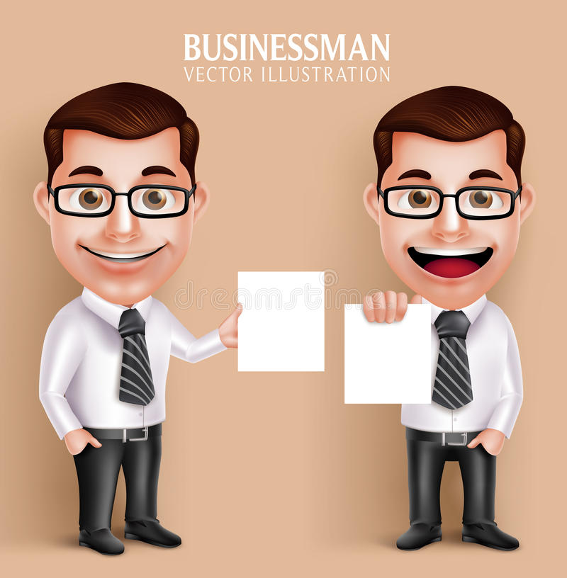 Professional Business Man Vector Character Holding Blank White Paper royalty free illustration