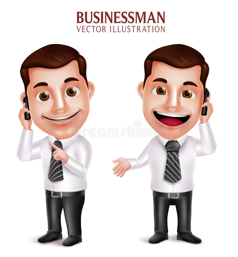 Professional Business Man Vector Character Holding Mobile Phone stock illustration
