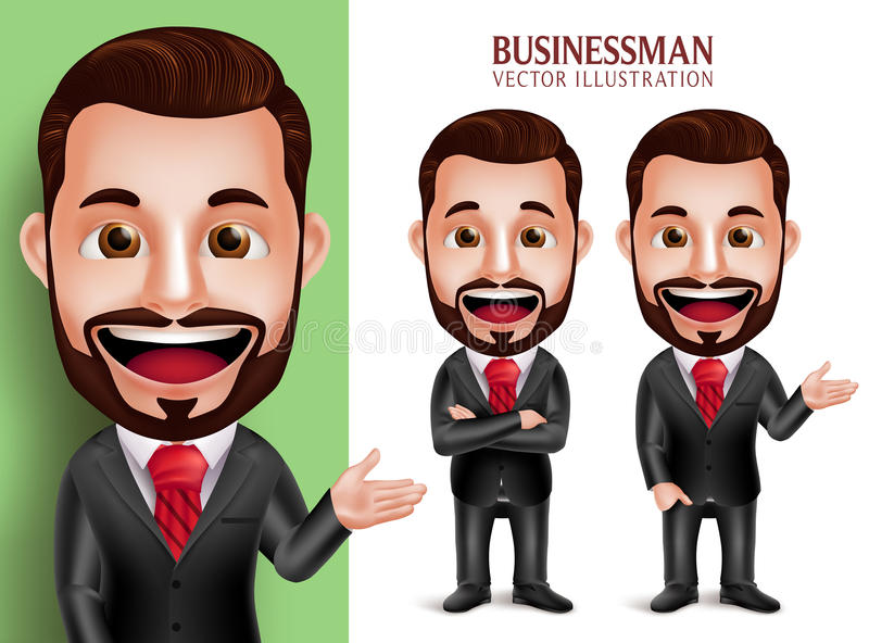 Professional Business Man Vector Character Smiling in Attractive Corporate Attire vector illustration